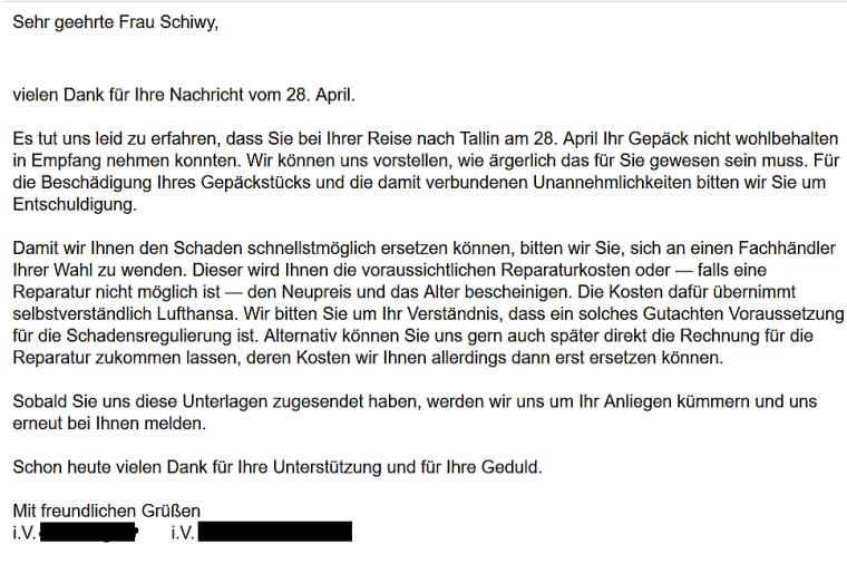 Nachricht von Lufthansa über das weitere Vorgehen