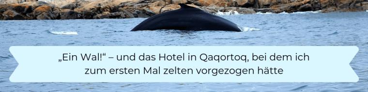 Ein Wal und ein Hotel, bei dem man zelten vorzieht