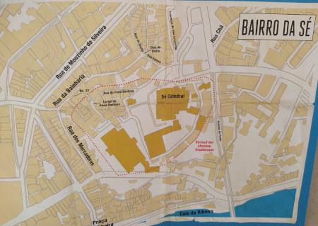 Der Krimi spielt im Stadtviertel Bairro de Sé unweit der Kathedrale. Portobesucher können die Schauplätze bequem zu Fuß erreichen. Ein kleiner Stadtplan in der Buchklappe ist dabei eine zusätzliche Hilfe.