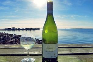 Essen und Trinken Segeln, Lugana grüne Flasche auf Avernakö Sundowner
