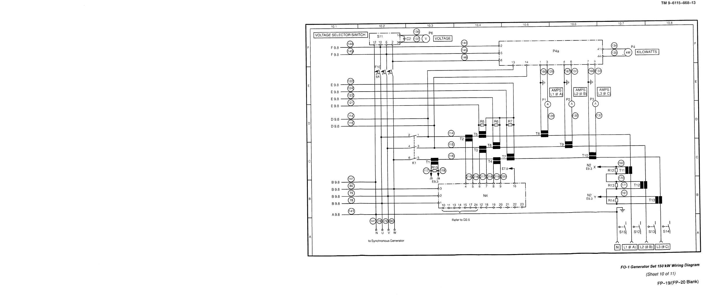 Fo 1 Generator Set 150kw Wiring Diagram Sheet 10 Of 11