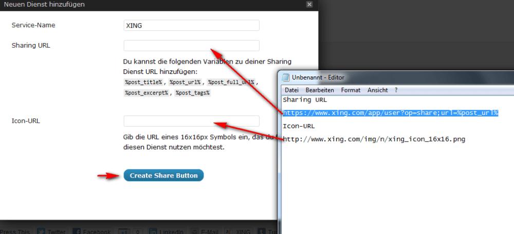Eigene Sharing-Button bei Wordpress einfügen – Beispiel Xing (2/4)