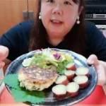 【ダイエットの夕御飯】長芋の豆腐ハンバーグを食べる!(概要欄見てね)