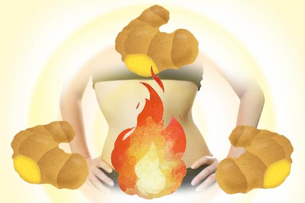 3つのしょうがをバックに、体の脂肪が燃えている