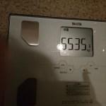 糖質制限65日目の体重と体脂肪