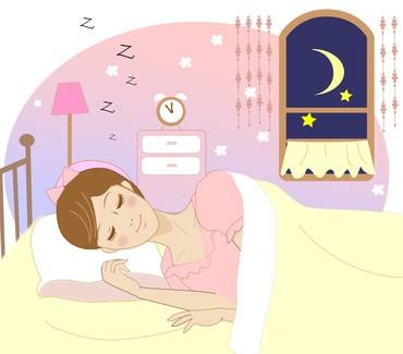 ぐっすり眠っている女性のイラスト