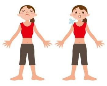 腹式呼吸をする女性のイラスト