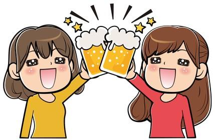 ビールジョッキを持って乾杯している女性のイラスト