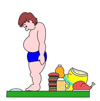 食べ物を前に体重計に乗る太った男性のイラスト