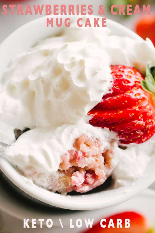 Keto Strawberry and Cream Mug Cake