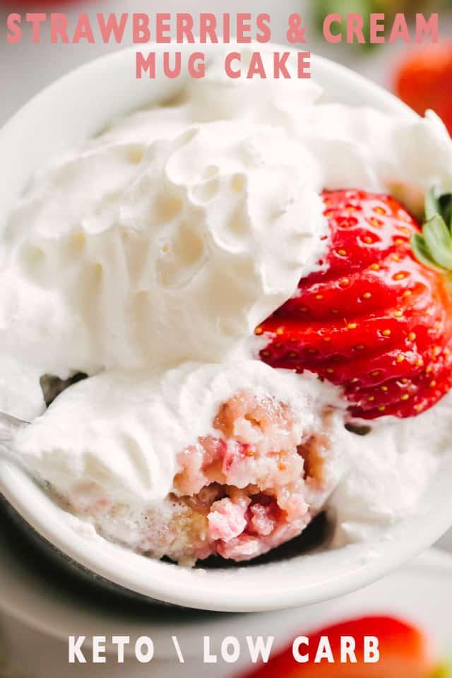 Keto Strawberry and Cream Mug Cake