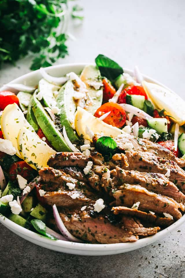 Steak Salad with Dijon Balsamic Dressing, avocado, tomatoes, feta cheese