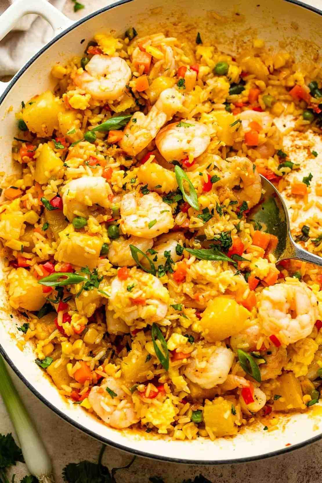 Easy Shrimp Fried Rice in a skillet