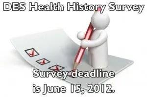 DES diethylstilbestrol health history 2012 survey image