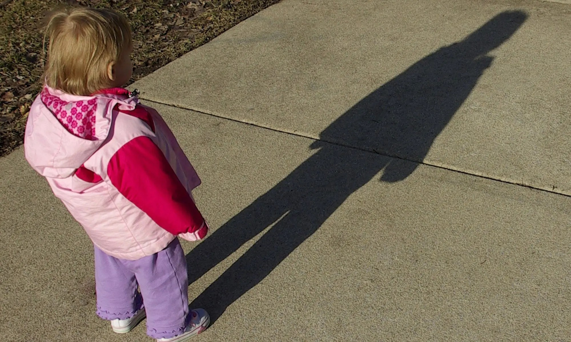 young girl tall shadow image