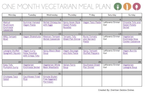 One Month Healthy Vegetarian Meal Plan | Dietitian Debbie ...