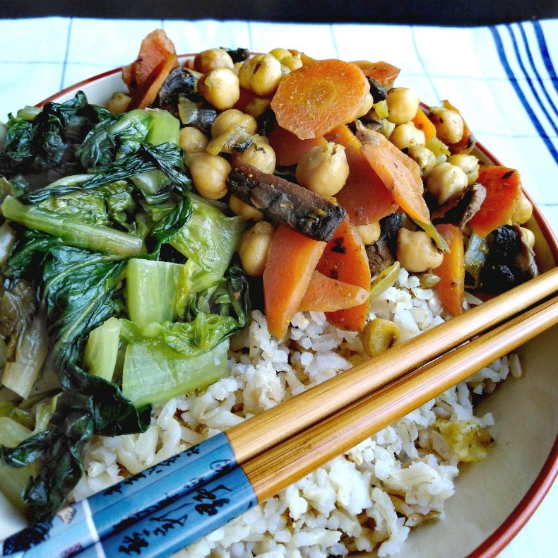 Vegan, plant-based, egg-free, dairy-free, nut-free, soy-free, gluten-free, asian-inspired, easy dinner recipe, quick vegan meals, 30 minute recipes, kid-approved, family favorite, easy vegan curried chickpeas and mushrooms