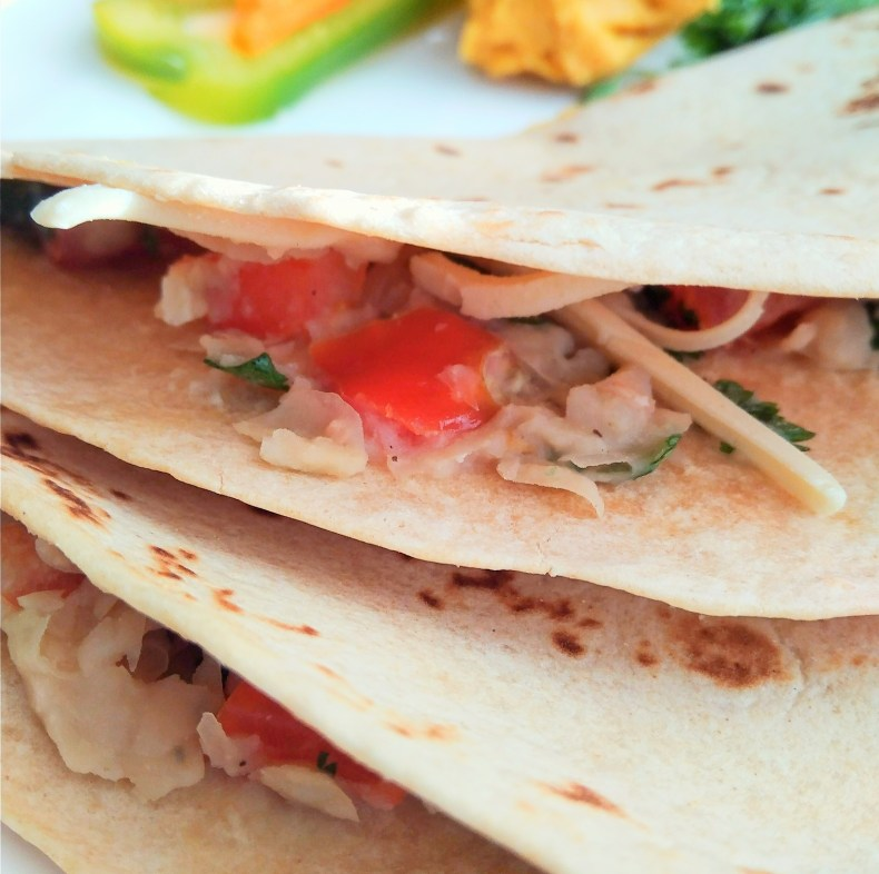 Vegan, plant-based, egg-free, dairy-free, nut-free, oil-free, gluten-free fresh tomato cannellini quesadillas recipe mealtime ideas white kidney beans