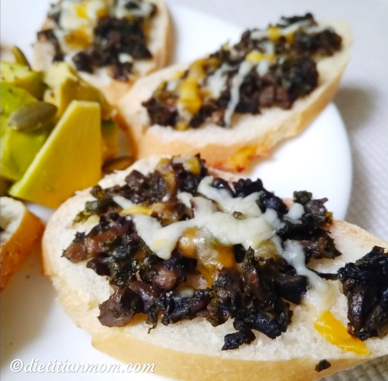 Vegan, vegetarian, plant-based, dairy-free, egg-free, nut-free, easy appetizer, holiday recipe, potluck recipe, 30 minute recipe, vegan kale mushroom bruschetta