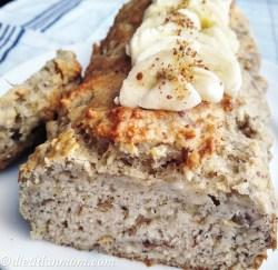 Vegan, vegetarian, easy, no-added sugar, no refined sugar, egg-free, dairy-free, plant-based, nut-free golden delicious vegan banana bread, healthy recipes, snack ideas, breakfast, lunch box, meal prep ideas