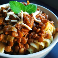 Vegan, plant-based, egg-free, dairy-free, egg-free, dairy-free, nut-free, vegetarian, entree, easy meal weeknight vegan lentil pasta sauce recipe, dinner ideas, main course