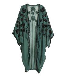 H&M green w/black beading Kimono