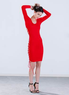 GoJane RED Open Up Lace-Up Bodycon Dress 3