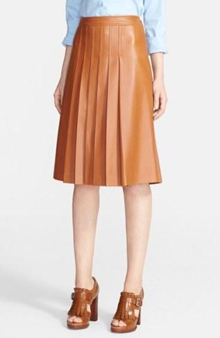 michael kors-blown leather pleated skirt