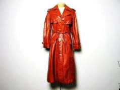 Vintage 70s red orange rust leather trench coat