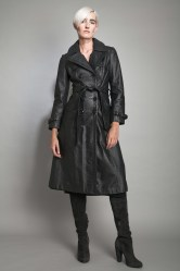 Vintage black leather trench
