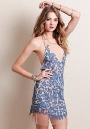 For Love and Lemons Luau Halter Dress Blue