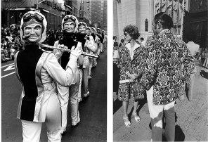 Len Speier Left Belushi Mask Band, Fifth Avenue, 1985. Right Paisley Couple, Riverside Church, 1978.