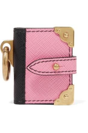Prada Texture Leather Keychain pink