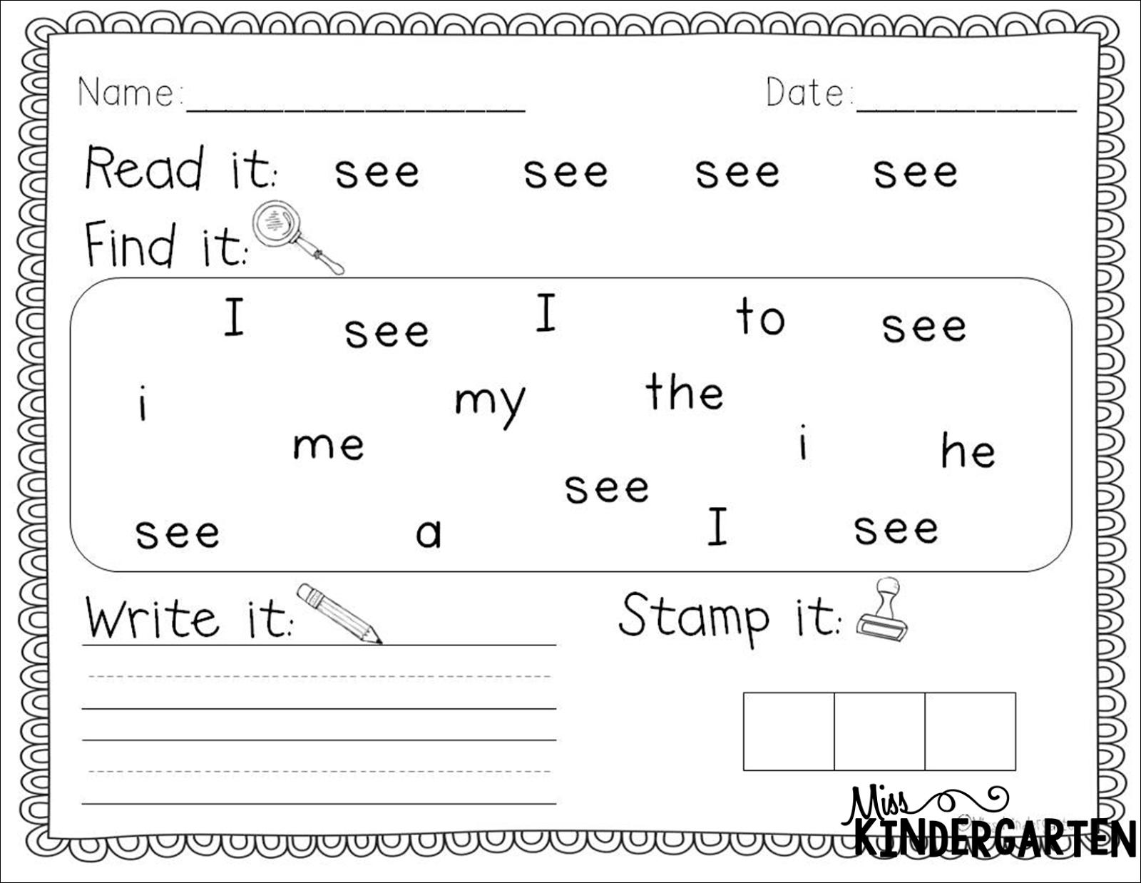 Worksheets For Kindergarten Reading
