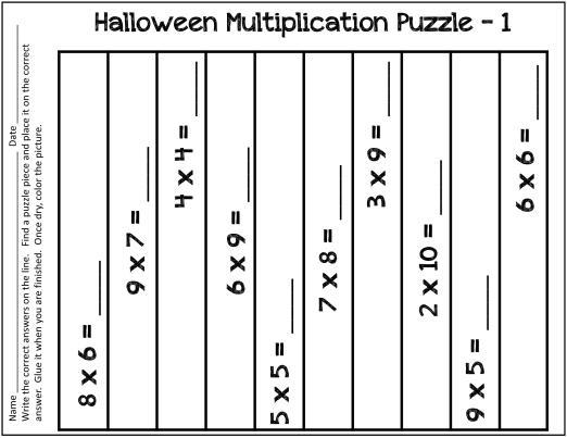 Fun Halloween Multiplication Worksheets