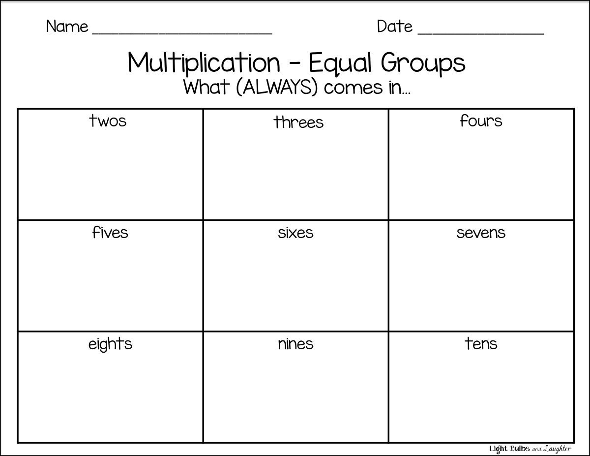 Multiplication As Equal Groups Worksheets