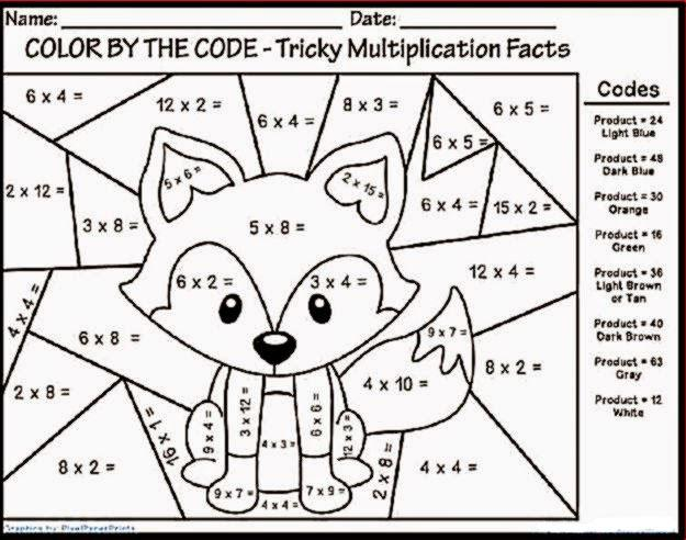 Multiplication Coloring Worksheets 4th Grade