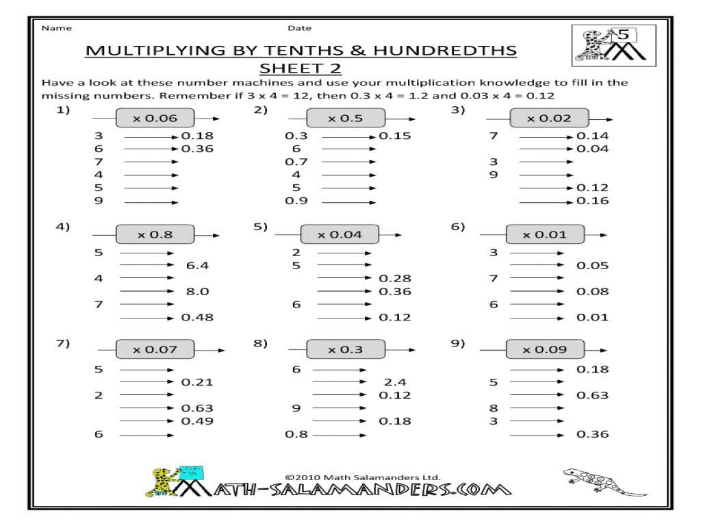 Multiplication Hundredths Worksheet 2