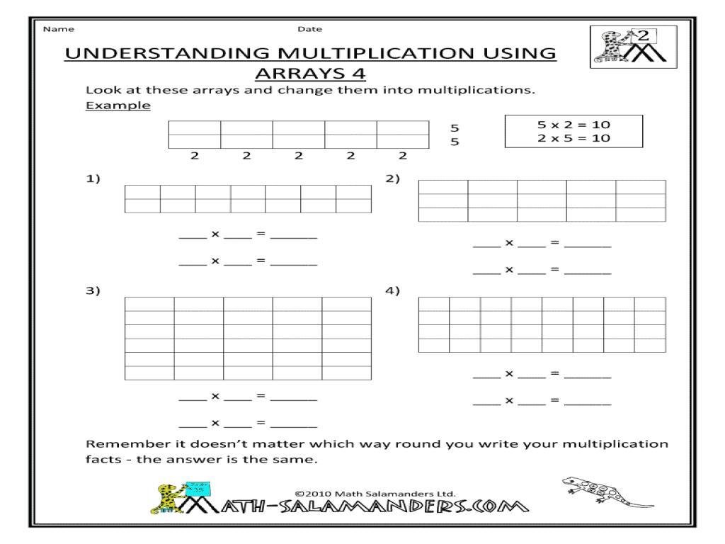 Multiplication Worksheets Arrays 1