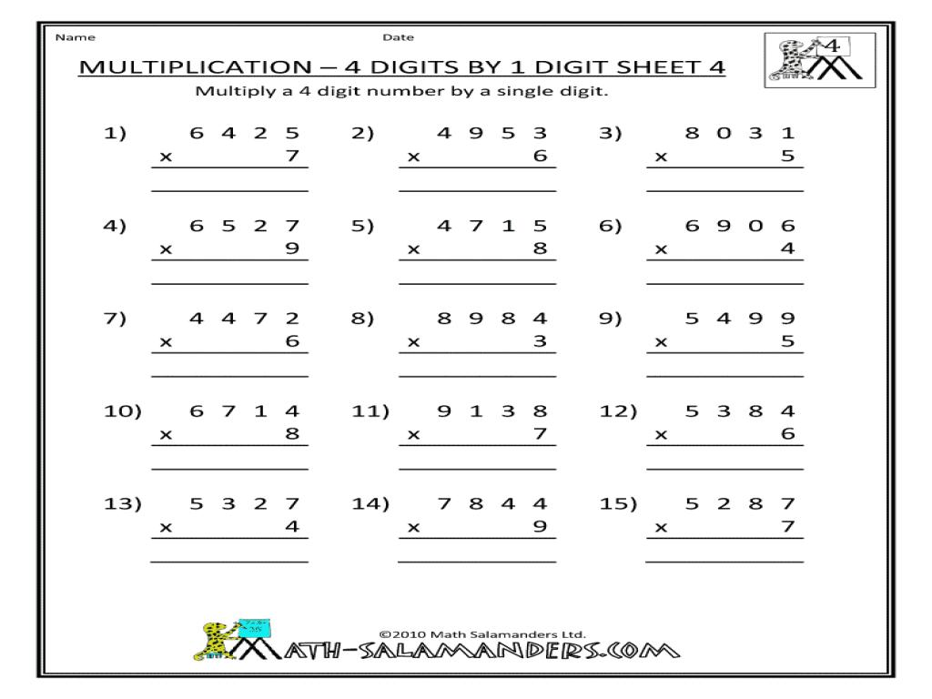 Multiplication Worksheets Class 4 1