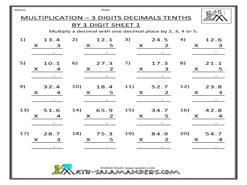 Multiplication Worksheets Decimals 1