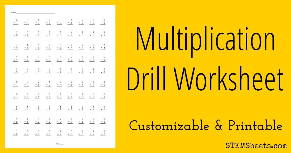 Multiplication Worksheets Drills 1
