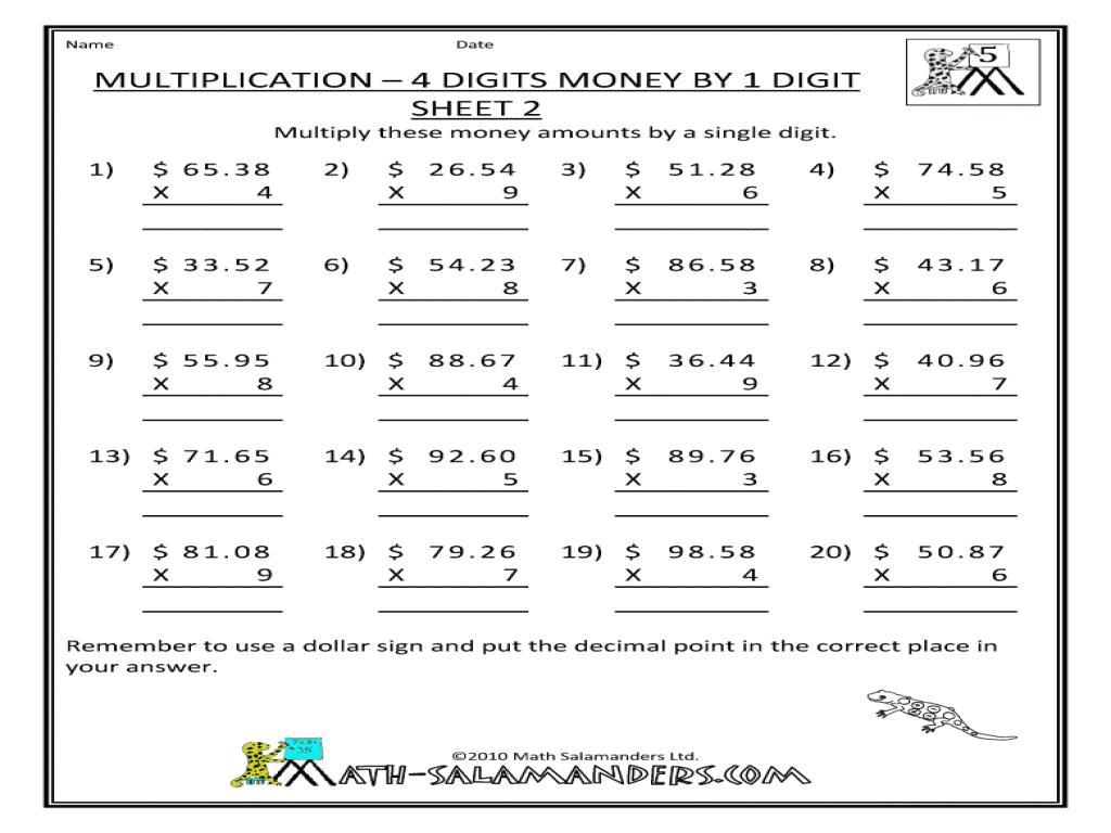 Multiplication Worksheets Grade 4 Word Problems
