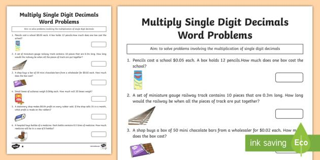 Multiplying Decimals Worksheets For Grade 6