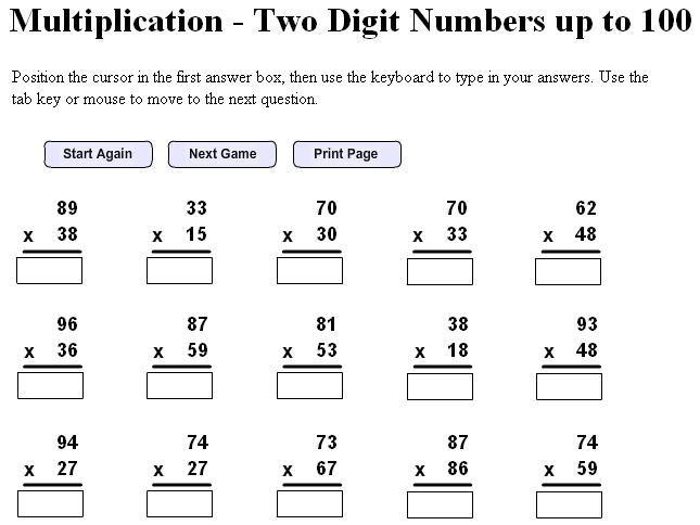 Multi Digit Multiplication Worksheets 5th Grade