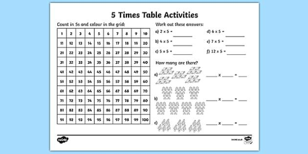 Multiplication Worksheets 5 And 6