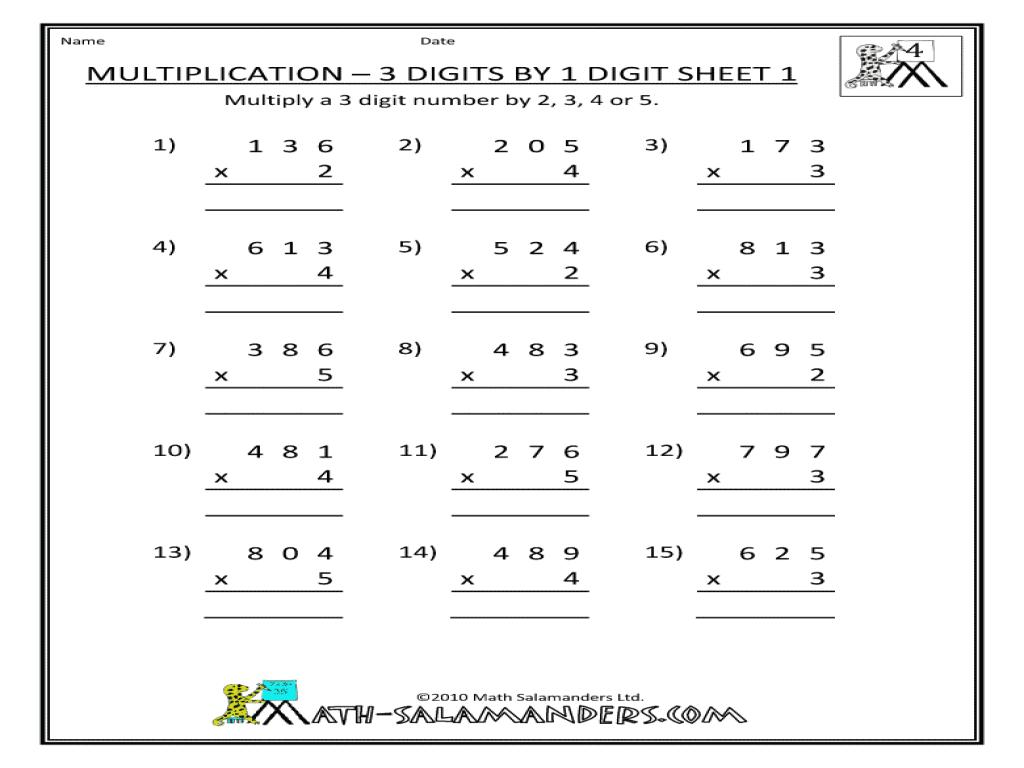 Multiplication Worksheets Four Digit By One Digit