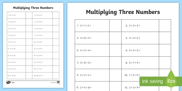 Multiplication Worksheets Number 3 1
