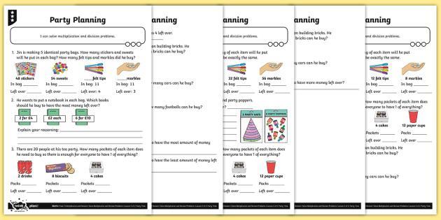 Multiplication Worksheets Remainders 2