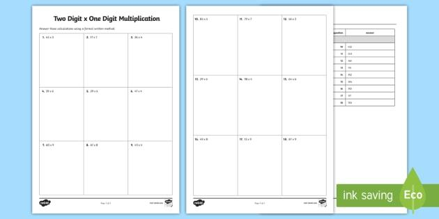 One Digit And Two Digit Multiplication Worksheets